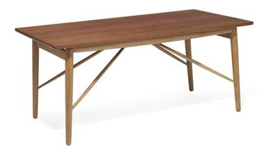 Finn Juhl, 'Rare coffee table with teak top, oak frame with stretchers.'