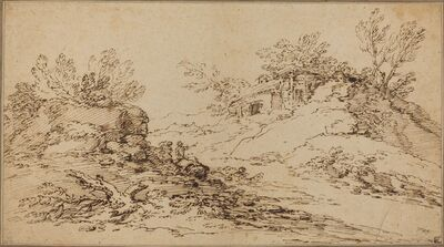 Salvator Rosa, 'Rocky Landscape with a Rustic House'