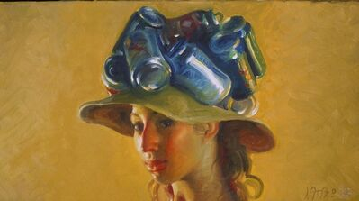 John Asaro, 'Beer Cans on a Hat', 2020