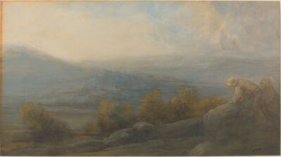Alphonse Legros, 'Mountain Landscape with two Figures at the Right', 1905