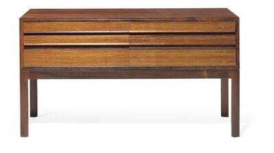 Henry Rosengren Hansen, 'A Brazilian rosewood double dresser. Front with six drawers, oak interior covered with green felt.'