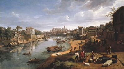 Gaspar Van Wittel, Called Vanvitelli, 'Rome. View of the Tiber at Ripa Grande', ca. 1690
