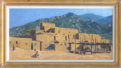 Unknown, 'Pueblo Houses Before a Hill', ca. 1960