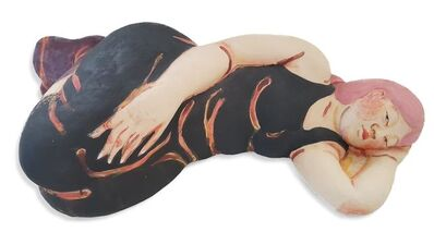 Akio Takamori, 'Sleeping Woman in Black Dress with Red Hair', 2013