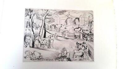 "Henry De Waroquier, 'Original Etching ""Paris Garden du Luxembourg"" by Henry de Waroquier', 1927"