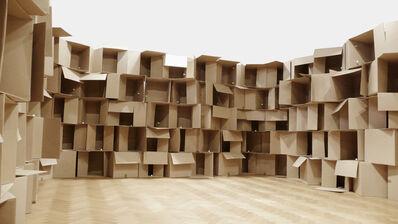 Zimoun, '186 prepared dc-motors, cardboard boxes 60x60x60cm', 2010