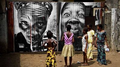 JR, '28 Millimètres, Women Are Heroes, Collage dans les rues de Monrovia, in the street of Monrovia, Liberia', 2008