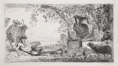 Giovanni Benedetto Castiglione, 'Pan Reclining Before an Urn', 1648