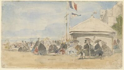Eugène Boudin, 'Beach House with Flags at Trouville', ca. 1865