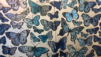 David Bromley, 'Blue butterflies on silver leafing diptych Was $38,000 Now $19,000 ', 2019