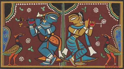 Jamini Roy, 'Untitled (Krishna with a Gopi)'