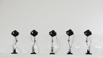 Zimoun, '5 ventilators, 35 styrofoam balls, 5 helping hands, air', 2009