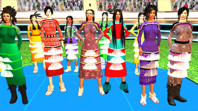 Skawennati, 'Jingle Dancers Assembled', 2011