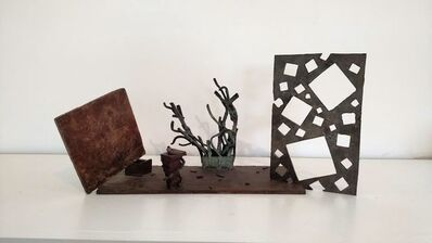 David Haxton, '(Bronze Sculpture no. 9) Propped Plane, Arabesque Forms and Square Holes in Plane', 1984