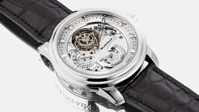 Blancpain, 'A very fine and rare platinum semi-skeletonized wristwatch with tourbillon regulator, power reserve, date, certificate and box, numbered 68 of a limited edition of 288 pieces', Circa 2009