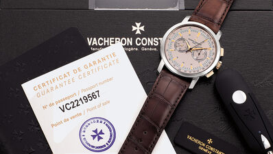 Vacheron & Constantin, 'A fine, large and attractive pink and white gold chronograph wristwatch with three-tone dial, guarantee and box', Circa 2018
