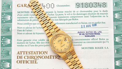 """Rolex, 'A very rare and attractive yellow gold quartz wristwatch with day, date, sweep center seconds, """"Pyramide"""" bracelet and guarantee', 1986"""