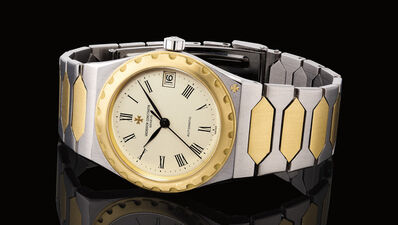 Vacheron & Constantin, 'A very fine and rare stainless steel and yellow gold wristwatch with sweep center seconds, date and integrated bracelet', 1987