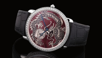 """Cartier, 'A fine and attractive limited edition white gold wristwatch with """"Dragon"""" cloisonné enamel dial, diamond-set bezel, Certificate of Origin, Guarantee and box, numbered 100 of a limited edition of 100 pieces', 2012"""