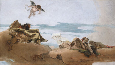 Giambattista Tiepolo, 'Study for a Ceiling with the Personification of Counsel', Before ca. 1762