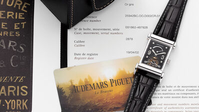 Audemars Piguet, 'A fine white gold rectangular shaped wristwatch with tourbillon, power reserve indicator, flexible lugs, service papers and box', 2002