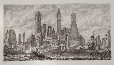 Reginald Marsh, 'Skyline from Pier 10 Brooklyn', 1931