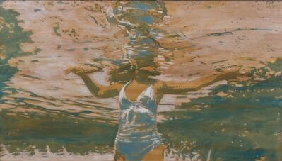 """Carol Bennett, '""""Pool Chill"""" abstract oil painting of a woman under water in white bathing suit', 2010-2017"""