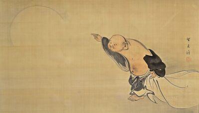 Mochizuki Gyokkei, 'Hotei Pointing at the Moon', 1920-1930