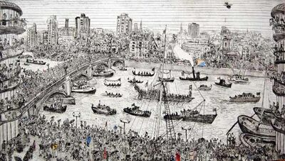 Chris Orr, 'Gloriana Coronation Chicken based on a drawing from Jubilee River Pageant 3 June 2012', 2013