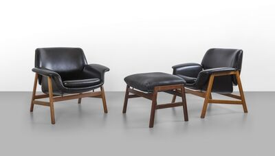 Gianfranco Frattini, 'A pair of armchairs and a footrest '849' model', 1956