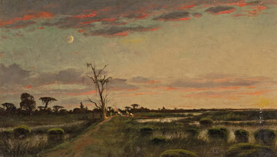 Joseph Rusling Meeker, 'Bayou Field with Campsite at Dusk under a Crescent Moon'