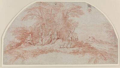 Jean-Antoine Watteau, 'A Fête Galante with Falconers', ca. 1711-1712