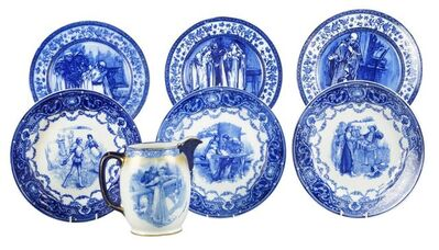 Doulton, 'a group of Shakespeare themed blue and white ceramics', Late 19th/Early 20th Century