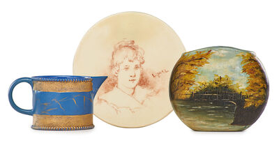 Mary Louise McLaughlin, 'Small self-portrait plaque and pitcher by McLaughlin, small painted pillow vase by unidentified artist'