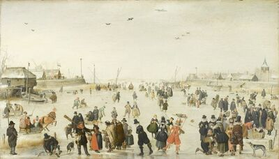 Hendrick Avercamp, 'Winter Scene on a Frozen Canal', ca. 1620
