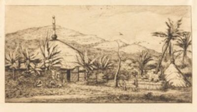 Charles Meryon, 'Nouvelle-Calédonie: Grande case indigène sur le chemin de Ballade à Poepo, 1845 (New Caledonia: Large Native Hut on the Road from Balade to Puebo, 1845)', 1863