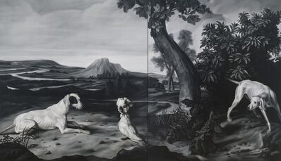 Shelley Reed, 'Hunting Dog, Hound and Cockatoo (after Desportes, Hillegaert and Weenix)', 2014