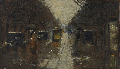 Lesser Ury, 'Straßenszene bei Regen', 1926