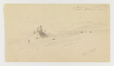 Frederic Edwin Church, 'Wooded Hilltop, Hilly Valley, Sun', 1866