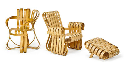 Frank Gehry, 'Power Play lounge chair, ottoman, and Cross-Check chair, USA', 1993-94