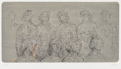 Henry Moore, 'Female Figures with Grey Background', 1980