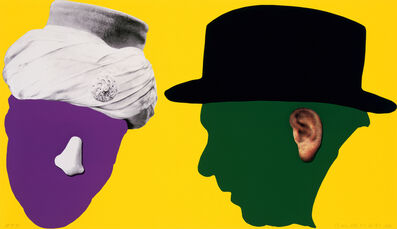 John Baldessari, 'Noses & Ears Etc.: The Gemini Series:                     Two Profiles, One with Nose and Turban (B&W); One with                      Ear (Color) and Hat', 2006