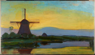 Piet Mondrian, 'Oostzijdse Mill with Extended Blue, Yellow and Purple Sky', 1907-08