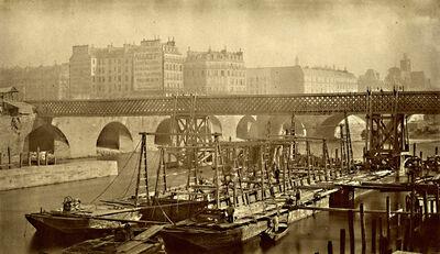Hippolyte-Auguste Collard, 'Construction of a Bridge on the Seine', 1860s