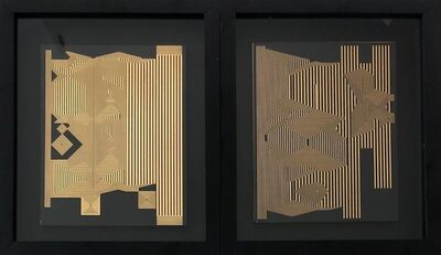 Francisco Larios, 'Untitled 1 & Untitled 13 Gold Leaf MDF, Framed', 2019