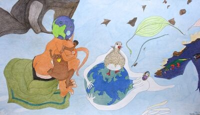 Shuvinai Ashoona, 'Untitled (Breast Feeding, Planets, Alligator, Duck)'