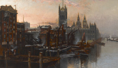Thomas Greenhalgh, 'A View of the Houses of Parliament from the Thames, London', ca. 1880