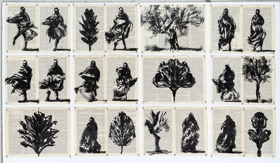 William Kentridge, 'Drawing for Waiting for the Sibyl (Trees and Spinning Figures)', 2019