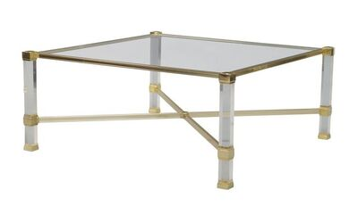 Pierre Vandel, 'a gilt metal and Perspex coffee table, French, The square glass top on chromed and and gilt metal supports, joined by x-shaped stretcher', c.1980