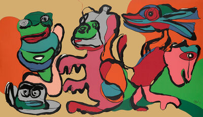 Karel Appel, 'Laughing Frog and His Friends in the Golden Age', 1975
